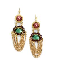 Sparkling Sage - Metallic Draped Chain Crystal Earrings - Lyst
