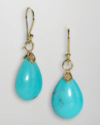 Elizabeth Showers | Metallic 18k Gold Diamond Turquoise Teardrop Earrings | Lyst