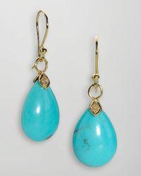 Elizabeth Showers - Metallic 18k Gold Diamond Turquoise Teardrop Earrings - Lyst
