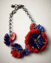 Lanvin | Red Raffia Flower Choker Necklace | Lyst