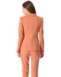 Lyst Rachel Zoe Hanne V Neck Jacket In Brown