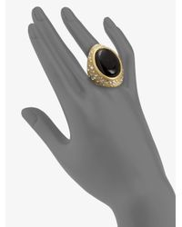 ABS By Allen Schwartz | Black Textured Cabochon Ring | Lyst
