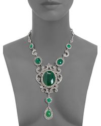 Ben-Amun | Green Ornate Teardrop Oval Tiered Pendant Necklace | Lyst