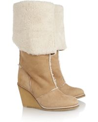 Chloé - Natural Shearling Wedge Boots - Lyst