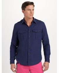 Polo Ralph Lauren | Blue Linen Military Shirt for Men | Lyst