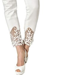 Blumarine | White Cotton Macramè Cotton Denim Jeans | Lyst