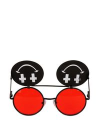 Jeremy Scott | Black Shiny Smile Sunglasses for Men | Lyst