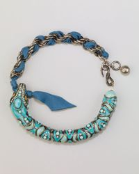 Lanvin | Blue Enamel Snake Choker Necklace Turquoise | Lyst
