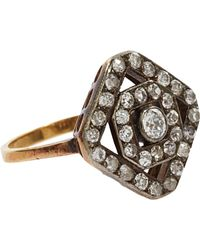 Olivia Collings - Metallic Diamond Angular Cluster Ring - Lyst