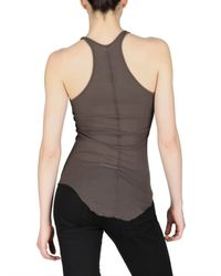 Rick Owens | Brown Silk Viscose Ribbed Tank Top | Lyst