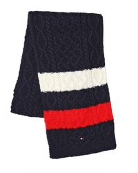 Tommy Hilfiger Blue Sid Cable Knit Multicolor Scarf for men