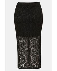 TOPSHOP   Black Paisley Lace Tube Skirt   Lyst