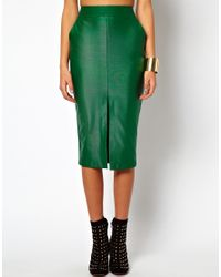 ASOS Collection - Black Pencil Skirt in Wet Look - Lyst