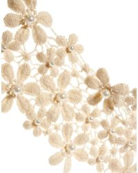 ASOS | Natural Lace Pearl Bib Necklace | Lyst