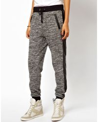 ASOS | Gray Track Pant with Pu Pocket | Lyst
