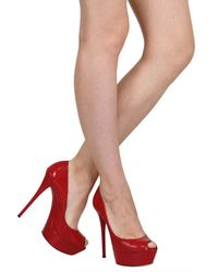 Casadei | Red 140mm Python Print Open Toe Pumps | Lyst