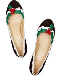 Charlotte Olympia - Metallic Holly Suede and Patent Leather Flats - Lyst