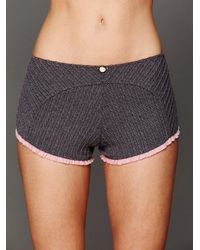 Free People Gray Cable Knit Crop Top and Shorts Set