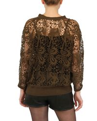 Isabel Marant | Brown Guipure Lace Cotton Sweatshirt | Lyst