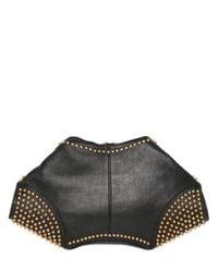 Alexander McQueen Black Gold Studs Leather Demanta Clutch