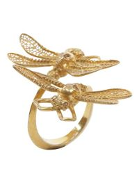 Alexander McQueen | Metallic Gold Twin Skull Dragonfly Ring | Lyst
