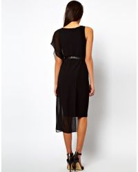 ASOS Collection | Black Belted Bodycon Dress with Chiffon Drape | Lyst