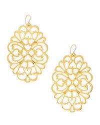 Devon Leigh | Metallic Goldplated Floral Earrings | Lyst