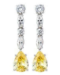 Fantasia by Deserio - Multicolor Canary Cz Drop Earrings - Lyst