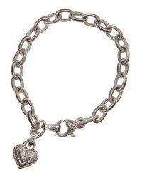 Judith Ripka - Metallic Heartcharm Chain Bracelet - Lyst