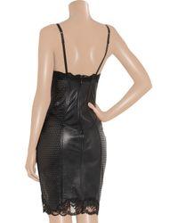 La Perla - Black Lacetrimmed Perforated Leather Corset Dress - Lyst