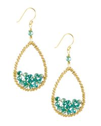 Panacea | Blue Beaded Teardrop Earrings Green | Lyst