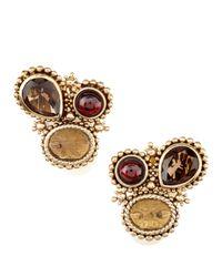 Stephen Dweck - Multicolor Garnet-Smoky Quartz Clip Earrings - Lyst