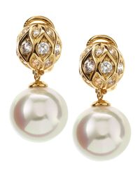 Majorica - White Bale Pearl Drop Earrings - Lyst