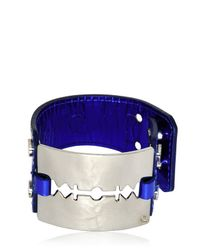 McQ | Blue Patent Leather Razor Blade Bracelet | Lyst