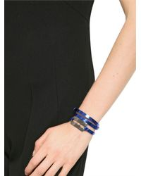 McQ | Blue Patent Leather Triple Wrap Bracelet | Lyst