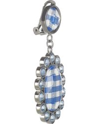 Miu Miu | Blue Gingham and Plexiglass Crystal Clip Earrings | Lyst