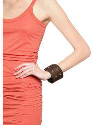 Rick Owens - Brown Leather Cuff Bracelet - Lyst