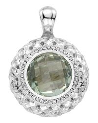 Slane | Green Amethyst-diamond Basketwoven Pendant | Lyst