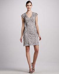 Sue Wong - Metallic Capsleeve Vneck Cocktail Dress - Lyst