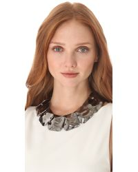 Tuleste | Metallic Hammered Square Necklace | Lyst