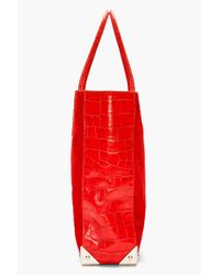 Alexander Wang - Red Croc Embossed Leather Suede Prisma Tote - Lyst