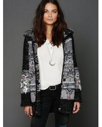 Free People Multicolor Christmas Tree Back Cardigan