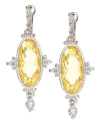 Judith Ripka | Metallic Arielle Large Oval Canary Earrings | Lyst