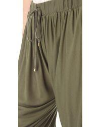 Haute Hippie - Green Draped Jersey Harem Pants - Lyst