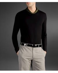 Armani - Black T-shirt with Two-tone Collar Interior for Men - Lyst