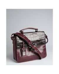 Badgley Mischka - Purple Aubergine Croc Embossed Leather Nell Colorblock Shoulder Bag - Lyst