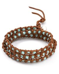Chan Luu - Green Three Leather Wrap Mint Alabaster Bracelet - Lyst