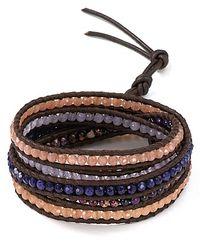 Chan Luu - Five Leather Wrap Purple Jasper Mix Bracelet - Lyst
