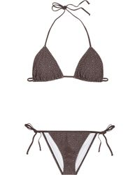 Chloé | Brown Broderie Anglaise Laser-cut Triangle Bikini | Lyst