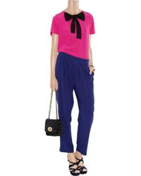 Miu Miu | Purple Lace-bow Silk Top | Lyst